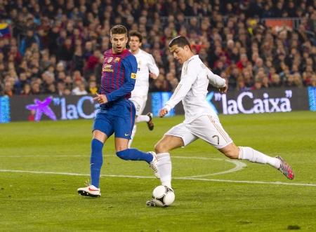 スペイン カップでの行動で RM のクリスティアーノ Ronaldo 一致 FC バルセロナとレアル マドリードは、最終的なスコア 2-2 で 2012 年 1 月 25 日、バルセ 報道画像