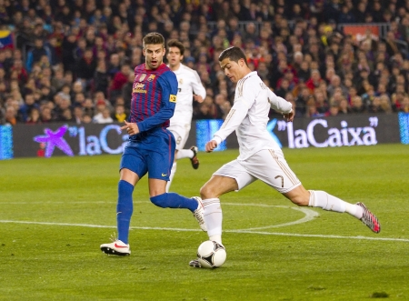 Cristiano Ronaldo of RM in action at the Spanish Cup match between FC Barcelona and Real Madrid, final score 2 - 2, on January 25, 2012, in Barcelona, Spain