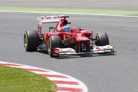 grand prix: BARCELONA - MAY 12: Fernando Alonso of Ferrari F1 team racing at Qualifying Session of Formula One Spanish Grand Prix at Catalunya circuit, on May 12, 2012 in Barcelona, Spain