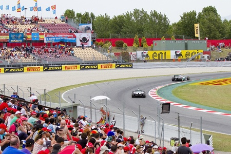 BARCELONA - MAY 12: Mercedes F1 cars racing at Qualifying Session of Formula One Spanish Grand Prix at Catalunya circuit, on May 12, 2012 in Barcelona, Spain