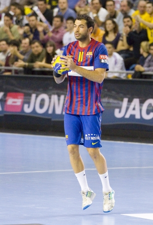dani: BARCELONA - MARCH 25: Dani Sarmiento in action during EHF Champions League match between FC Barcelona and Montpellier, final score 36-20, on March 25, 2012, in Palau Blaugrana, Barcelona, Spain