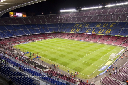 BARCELONA - DECEMBER 16: View of Camp Nou stadium before the Spanish League match between FC Barcelona and Atletico de Madrid, final score 4 - 1, on December 16, 2012, in Barcelona, Spain
