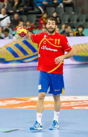 sarmiento: BARCELONA - JANUARY 25: Dani Sarmiento of Spain in action at the Handball World Championship semi-final between Spain and Slovenia, final score 26-22, on January 25, 2013, in Barcelona, Spain Editorial