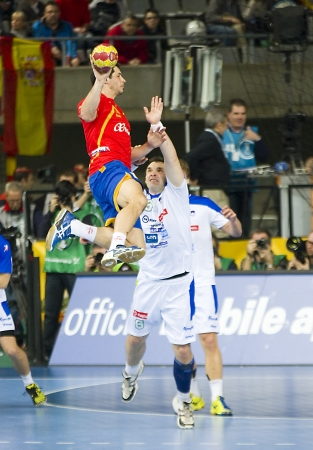 alberto: BARCELONA - JANUARY 25: Alberto Entrerrios of Spain in action at the Handball World Championship semi-final between Spain and Slovenia, final score 26-22, on January 25, 2013, in Barcelona, Spain Editorial