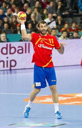 sarmiento: BARCELONA - JANUARY 25: Dani Sarmiento of Spain in action at the Handball World Championship semi-final between Spain and Slovenia, final score 26-22, on January 25 2013, in Barcelona, Spain