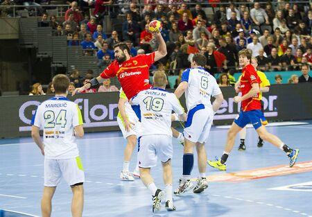 BARCELONE - 25 janvier: Jorge Maqueda de l'Espagne en action au Championnat du Monde de Handball en demi-finale entre l'Espagne et la Slovénie, score final 26-22, le 25 Janvier 2013, à Barcelone, Espagne