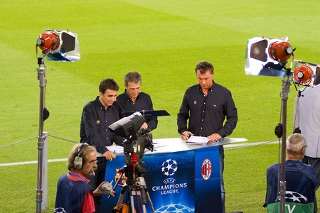 BARCELONA - SEPTEMBER 13: Journalists working at the Champions League match between FC Barcelona and AC Milan, 2 - 2, on September 13, 2011, in Camp Nou, Barcelona, Spain