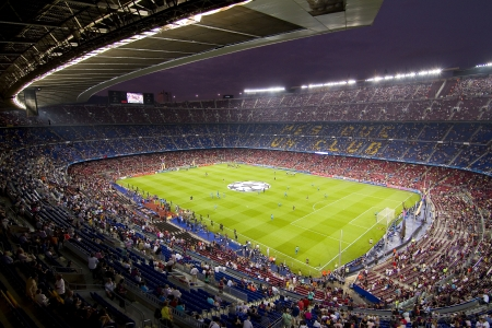 BARCELONA - SEPTEMBER 13: View of Camp Nou stadium before the Champions League match between FC Barcelona and AC Milan, 2 - 2, on September 13, 2011, in Camp Nou, Barcelona, Spain Editorial