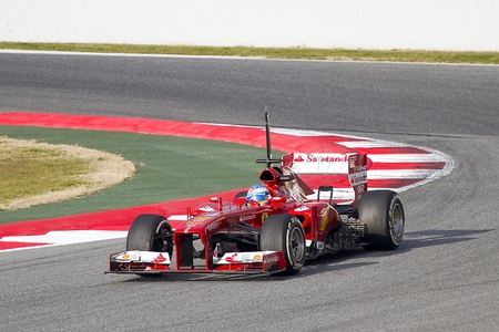 BARCELONA - FEBRUARY 19: Fernando Alonso racing with his new Ferrari F138 at Formula One Teams Test Days at Catalunya circuit on February 19, 2013 in Montmelo, Barcelona, Spain