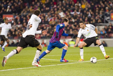 lionel: BARCELONA -   Lionel Messi in action during the Spanish Cup match between FC Barcelona and Valencia CF, final score 2-0,   in Camp Nou stadium, Barcelona, Spain