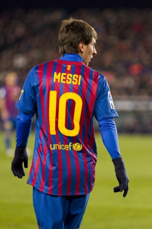 messi: BARCELONA -   Lionel Messi in action during the Spanish Cup match between FC Barcelona and Valencia CF, final score 2-0,   in Camp Nou stadium, Barcelona, Spain