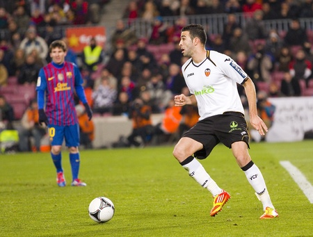 BARCELONA - FEBRUARY 2  Adil Rami in action during the Spanish Cup match between FC Barcelona and Valencia CF, final score 2-0, on February 2, 2012, in Camp Nou stadium, Barcelona, Spain