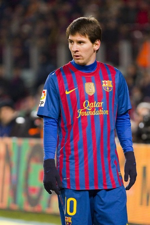 lionel messi: BARCELONA -   Lionel Messi in action during the Spanish Cup match between FC Barcelona and Valencia CF, final score 2-0,   in Camp Nou stadium, Barcelona, Spain