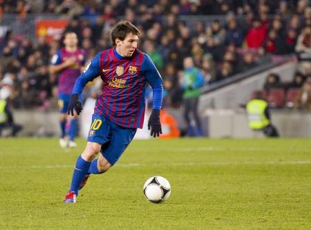 バルセロナ - スペイン カップの間にアクションで Lionel Messi 一致 Valencia CF、最終的なスコアと FC バルセロナ 2-0、カンプ ・ ノウ ・ スタジアム バル