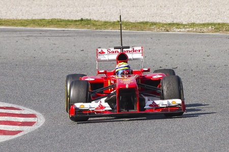 massa: BARCELONA - MARCH 2: Felipe Massa racing with his new Ferrari F138 at Formula One Teams Test Days at Catalunya circuit on March 2, 2013 in Montmelo, Barcelona, Spain