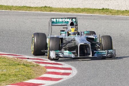 BARCELONA - MARCH 2: Lewis Hamilton racing with his new Mercedes W04 at Formula One Teams Test Days at Catalunya circuit on March 2, 2013 in Montmelo, Barcelona, Spain