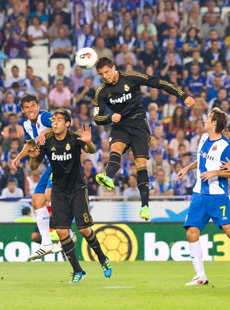 BARCELONA - OCTOBER 2: Cristiano Ronaldo in action during the Spanish League match between RCD Espanyol and Real Madrid, final score 0 - 4, on October 2, 2011 in Cornella stadium, Barcelona, Spain