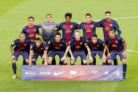 fabregas: BARCELONA - APRIL 6: FCB players posing for photos at Spanish league match between FC Barcelona and RDC Mallorca, final score 5-0, on April 6, 2013, in Barcelona, Spain
