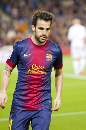 BARCELONA - APRIL 6: Cesc Fabregas in action at Spanish league match between FC Barcelona and RDC Mallorca, final score 5-0, on April 6, 2013, in Barcelona, Spain Editorial