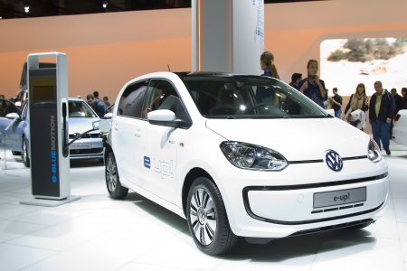Volkswagen e-up at Barcelona International Motor Show - Salon Internacional del Automovil, one of the five major shows in the world, on May 17, 2013, in Barcelona, Spain
