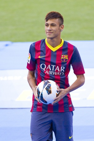 silva: Neymar Junior, a FC barcelona new player, poses for the photographers during his official presentation at the Camp Nou stadium , on June 3, 2013, in Barcelona, Spain Editorial