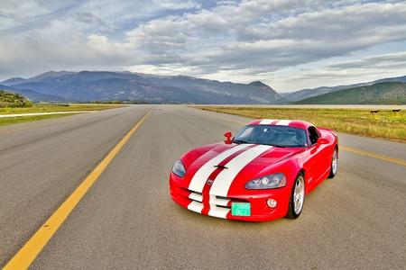 A Dodge Viper SRT take part in Road and Track racing weekend organizated by American Car Club, on October 6, 2012, in the airport of La Seu dUrgell, Spain