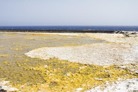 evaporacion: Estanques de evaporaci?n de sal en La Palma, Espa?a Foto de archivo