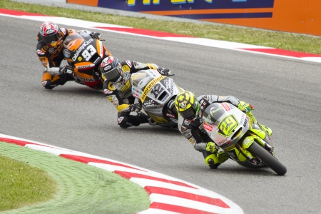 moto2: Some riders compete at the race of Moto 2 Grand Prix of Catalunya, on June 3, 2012 in Barcelona, Spain. The winner was Andrea Iannone