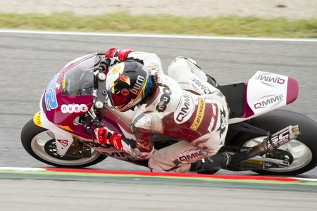 moto2: Elena Rosell of QMMF team racing at the race of Moto2 Grand Prix of Catalunya, on June 3, 2012 in Barcelona, Spain  The winner was Andrea Iannone