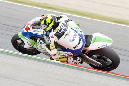 cip: Roberto Rolfo of Technomag CIP team racing at the race of Moto2 Grand Prix of Catalunya, on June 3, 2012 in Barcelona, Spain  The winner was Andrea Iannone