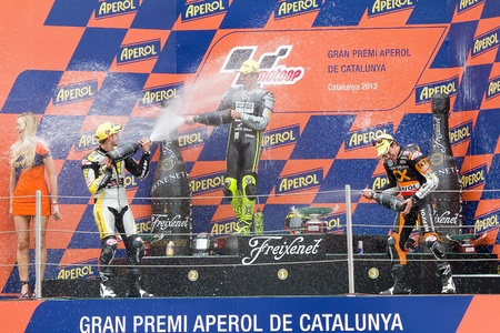 moto2: Thomas Luthi, Andrea Iannone and Marc Marquez in the podium after the race of Moto 2 Grand Prix of Catalunya, on June 3, 2012 in Barcelona, Spain Editorial