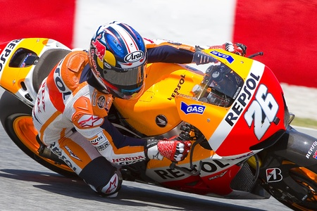 Dani Pedrosa of Honda team racing at Free Practice Session of MotoGP Grand Prix of Catalunya, on June 14, 2013 in Barcelona, Spain Valentino Rossi posts the fastest time