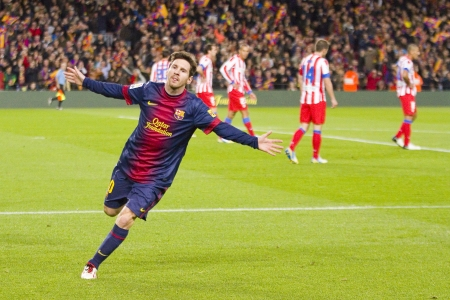 Lionel Messi celebrating a goal at the Spanish League match between FC Barcelona and Atletico de Madrid, final score 4-1, on December 16, 2012, in Camp Nou, Barcelona, Spain