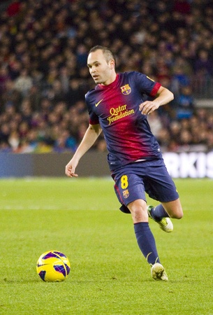 iniesta: Andres Iniesta in action at the Spanish League match between FC Barcelona and Atletico de Madrid, final score 4 - 1, on December 16, 2012, in Camp Nou, Barcelona, Spain