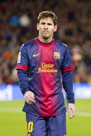 Lionel Messi in action at the Spanish League match between FC Barcelona and Atletico de Madrid, final score 4 - 1, on December 16, 2012, in Camp Nou, Barcelona, Spain
