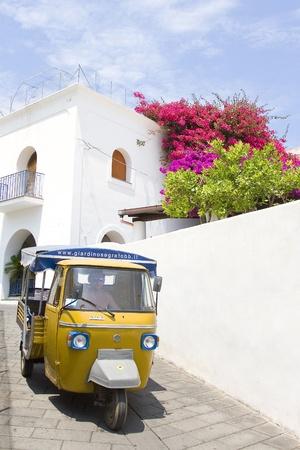 ストロンボリ島、イタリアの伝統的な交通、三輪車サルのビュー
