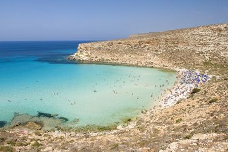 Beach of Conigli in Lampedusa, Italy