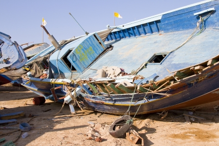 clandestine: Clandestine boat in Lampedusa, Italy