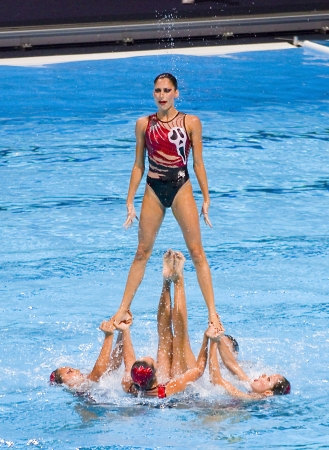 piscina olimpica: Equipo mexicano realiza en nataci�n sincronizada final Rutina libre de 15o Campeonato Mundial FINA, el 26 de julio de 2013, en Barcelona, ??Espa�a Rusia gana la medalla de oro de