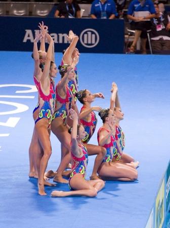piscina olimpica: Equipo ucraniano realiza en nataci�n sincronizada final Rutina libre de 15o Campeonato Mundial FINA, el 26 de julio de 2013, en Barcelona, ??Espa�a Rusia gana la medalla de oro