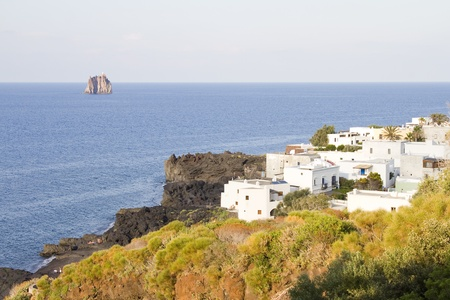 stromboli: Stromboli and Strombolicchio, Aeolian islands, Italy Stock Photo