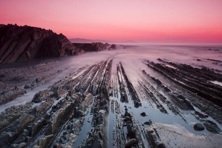 stratigraphy: Beach of Itzurun in Zumaia, Euskadi, Spain Stock Photo
