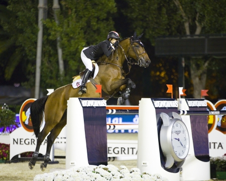 horse jumping: Tiffany Foster from Canada jumps a horse jumping obstacle during Longines Cup of the City of Barcelona, on September 27, 2013  The winner was Patrice Delaveau from France, riding the horse Carinjo Hdc