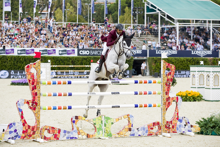 horse jumping: Ali Bin Khalid Al Thani from Qatar jumps a horse jumping obstacle during Furusiyya FEI Nations Cup - Team Consolation Competition in Barcelona, on September 28, 2013  The winner was USA team Editorial