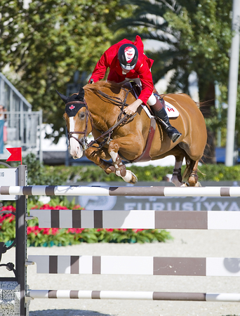 horse jumping: Jonathan Asselin from Canada jumps a horse jumping obstacle at CSIO - Furusiyya Nations Cup Horse Jumping Final Competition, on September 29, 2013, in Barcelona, Spain