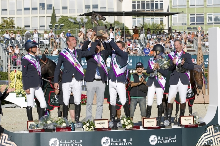horse jumping: French national team celebrates the victory, with a prize of 1,500,000�, at CSIO - Furusiyya Nations Cup Horse Jumping Final Competition, on September 29, 2013, in Barcelona, Spain Editorial