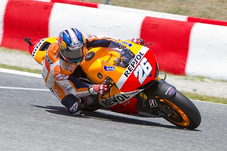 dani: Dani Pedrosa of Honda team racing at Free Practice Session of MotoGP Grand Prix of Catalunya, on June 14, 2013 in Barcelona, Spain