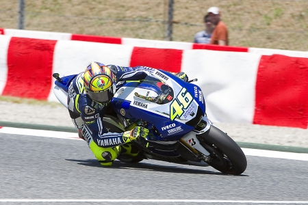 Valentino Rossi of Yamaha team racing at Free Practice Session of MotoGP Grand Prix of Catalunya, on June 14, 2013 in Barcelona, Spain  He posts the fastest time