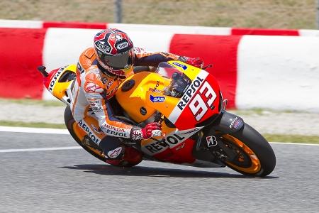 Marc Marquez of Repsol Honda team racing at Free Practice Session of MotoGP Grand Prix of Catalunya, on June 14, 2013 in Barcelona, Spain