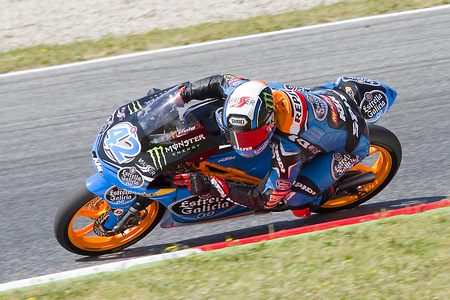 rins: Alex Rins of Estrella Galicia team racing at Moto3 Grand Prix of Catalunya, on June 16, 2013 in Montmelo, Barcelona, Spain